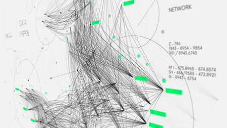 Sorting and analyzing complex big data, communication networks visualization, information database, technology illustration, monitor screen in perspective 스톡 콘텐츠