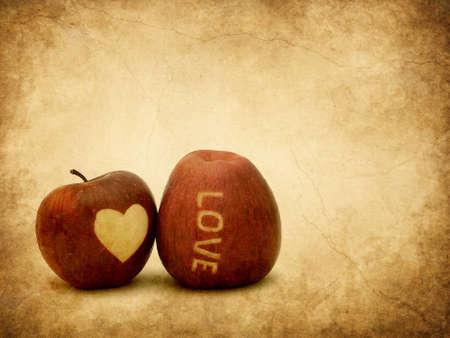 food hygiene: Valentine apples textured
