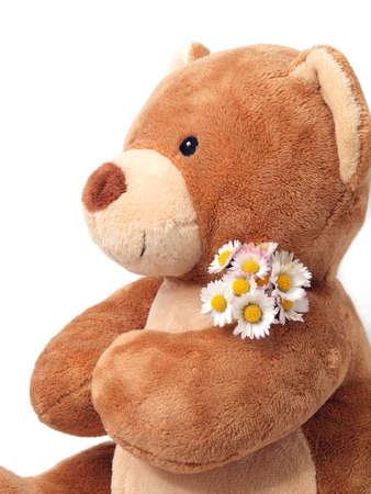 Teddy Bear with flowers Stock Photo