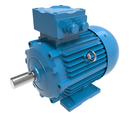 Industrial Blue Electric Motor Isolated on White 3D Illustration