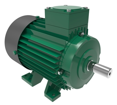 Industrial Green Electric Motor Isolated on White 3D Illustration