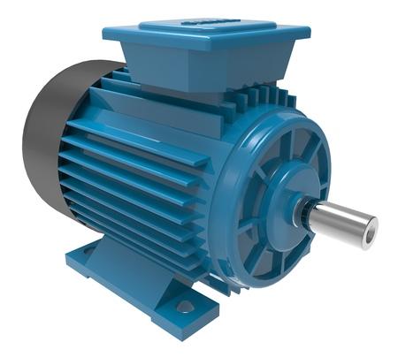 Motor eléctrico industrial azul aislado en blanco Ilustración 3D