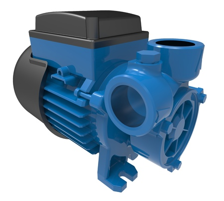 Electric water pump isolated on the white background 3d illustration