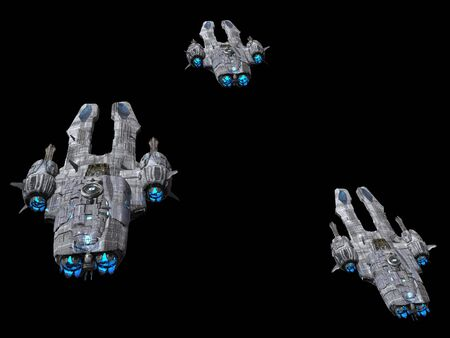 Spaceships isolated on a black background 3d illustration