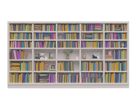 Bookcase bookshelves isolated on white 3d illustration Stock Photo