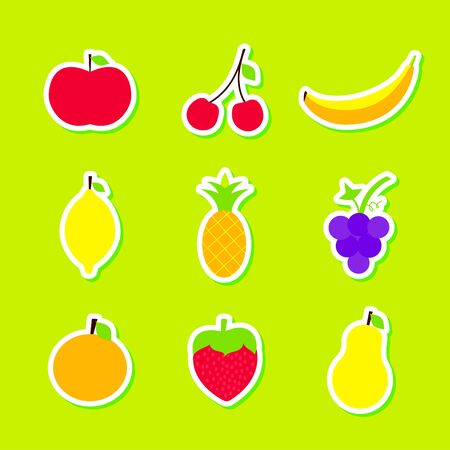Fruits Stickers Set Vector Illustration over Green