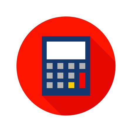 Flat Calculator Circle Icon. Vector Illustration of Business Object.