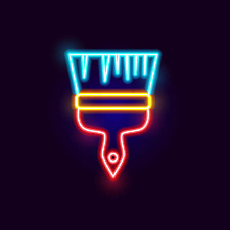 Neon Paint Brush Icon. Vector Illustration of Glowing Object.