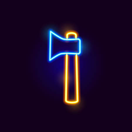 Neon Ax Icon. Vector Illustration of Glowing Object.