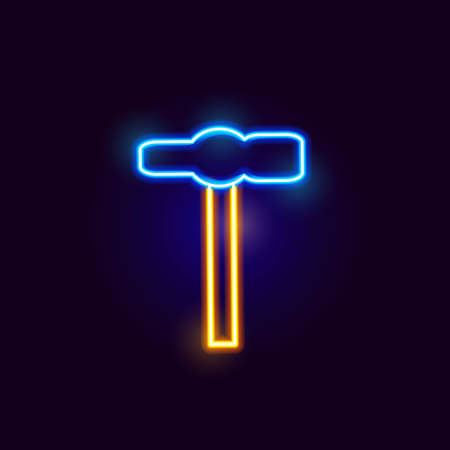 Neon Hammer Icon. Vector Illustration of Glowing Object.