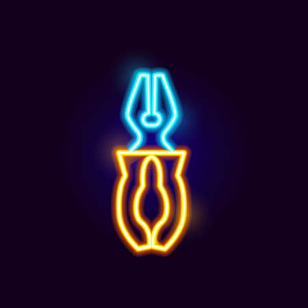Neon Pliers Icon. Vector Illustration of Glowing Object. Stock Illustratie