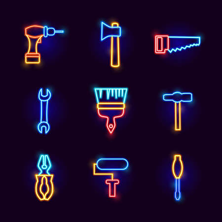 Neon Repair Tools. Vector Illustration of Glowing Objects.