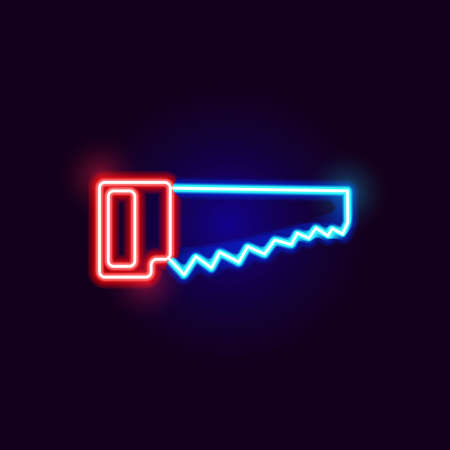 Neon Saw Icon. Vector Illustration of Glowing Object.