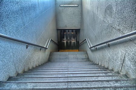 Stairs of a train station to change platform or leave it photo