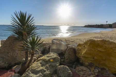 bird 's eye view: Sunset on the beach, Puerto Sherry, Puerto de Santa Maria, Cadiz Stock Photo