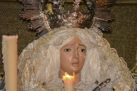 viacrucis: Holy week procession in Spain, Andalusia. Nazarene Jesus, Our Lady of Sorrows.