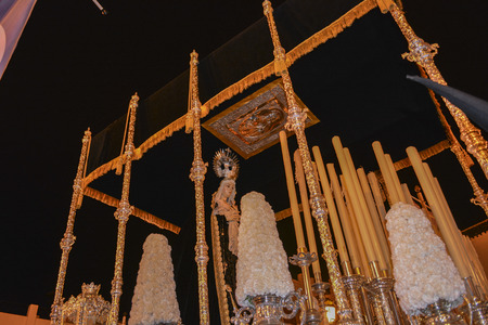 Holy week procession in Spain, Andalusia. Christ, Our Lady of Solitude. Holy burial. Stock Photo