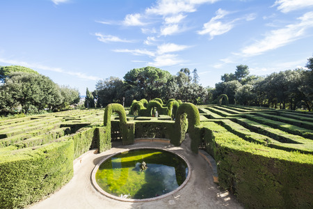 labyrinthine: Labyrinth Park of Horta sometimes named Laberint Horta Gardens is an historical garden in the HortaGuinard district in Barcelona and the oldest of its kind in the city. Stock Photo