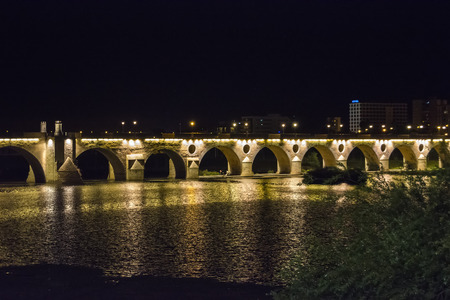 badajoz: Palms bridge at night Puente de Palmas Badajoz Spain