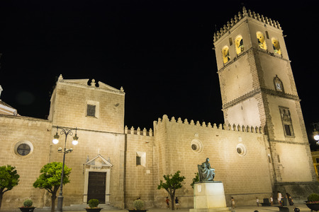 john: Saint John Baptist Cathedral at night Badajoz Spain