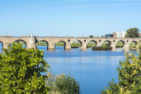 river: Palms bridge Puente de Palmas Badajoz Spain Stock Photo