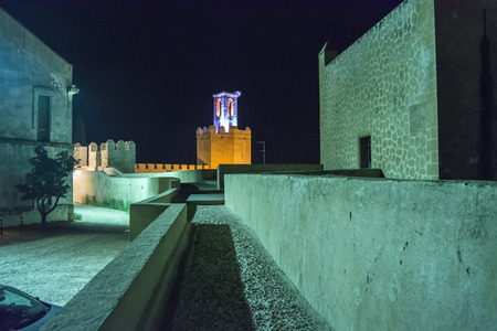 badajoz: Battlements pathways and towers of Badajoz muslim wall at night Spain