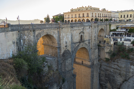 to the other side: View of Ronda old stone bridge (other side), Malaga, Spain