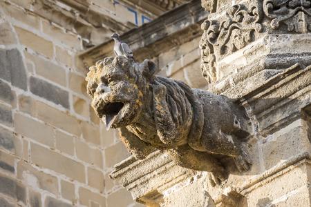 protruding: Gargoyle protruding from the facade of a cathedral