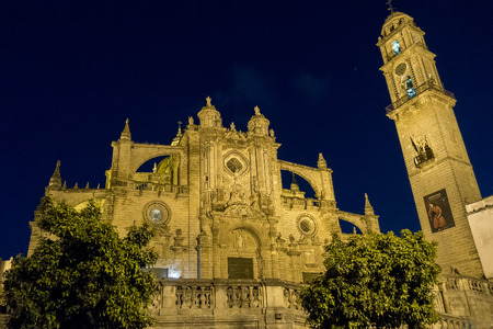 jerez de la frontera: Jerez de la Frontera Cathedral at night, Spain