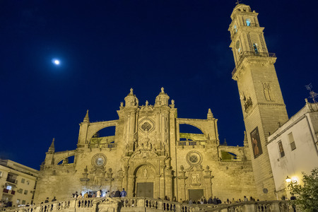 jerez de la frontera: Jerez de la Frontera Cathedral at night Stock Photo