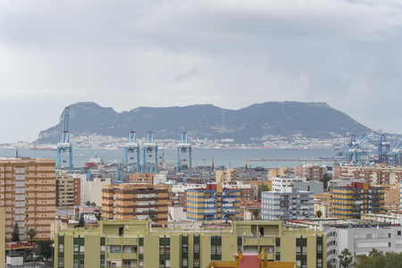 Views of Algeciras, the port and the rock of gibraltar, Cadiz, Spain Stock Photo