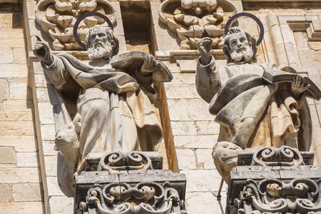 Jaen Assumption cathedral detail facade saints, Spain