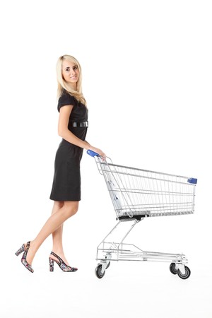 beautiful woman  with  cart Stock Photo - 8154125