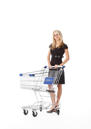 beautiful woman  with  cart photo
