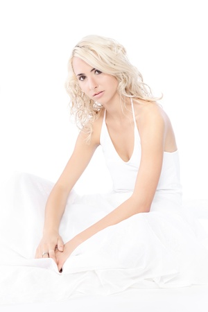 Woman White Dress over white background photo
