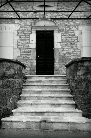 stoop: French door and stone stoop black and white