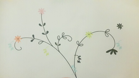 child's: Childs flower drawing pastel color. Wallpaper background design Stock Photo