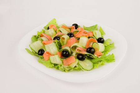 red fish: Salad with red fish and cucumbers Stock Photo