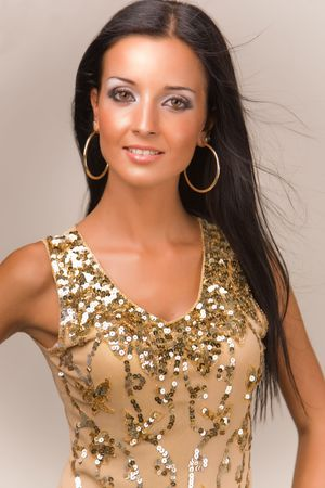 Portret van een sensueel meisje in de mode boven Stockfoto