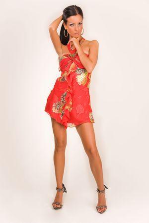 Sensual girl in fashion dress, studio isolated  Stock Photo
