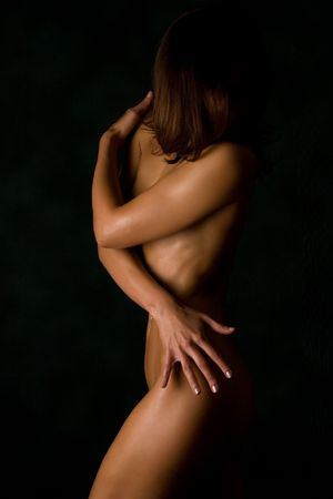 Anonymous sensual girl isolated in studio  Stock Photo
