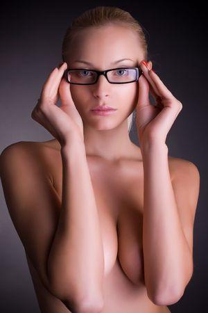 Sexy girl in stylish glasses, studio shot Stock Photo