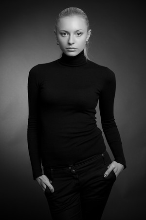 Beautiful girl in fashion outfit, grayscale  Stock Photo - 4299481