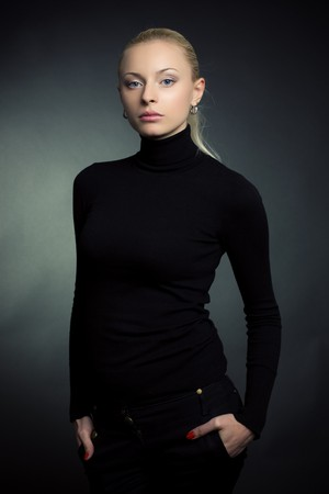 Beautiful blond girl, studio shot  photo