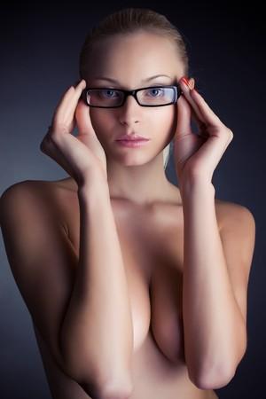 girl in stylish glasses, studio shot Stock Photo