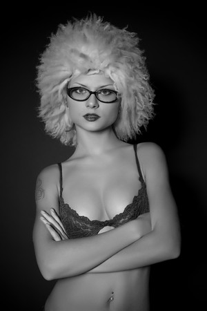 Attractive girl in glasses, grayscale  Stock Photo - 4361571