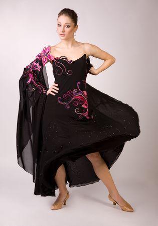 Dancer girl in motion, studio shot  photo
