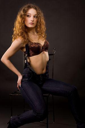 Attractive fashionable girl, studio shot  photo