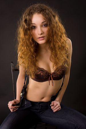 Portrait of beautiful girl, studio shot  photo