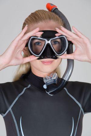 Mädchen mit Maske und Schnorchel, Großansicht Studio gedreht